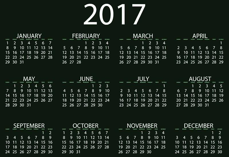 年間カレンダー2017
