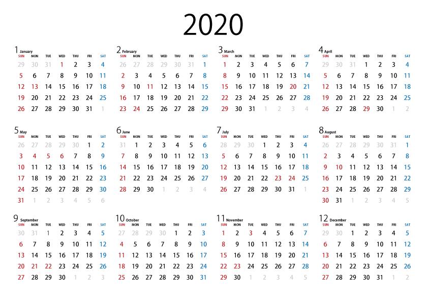 2020 カレンダー